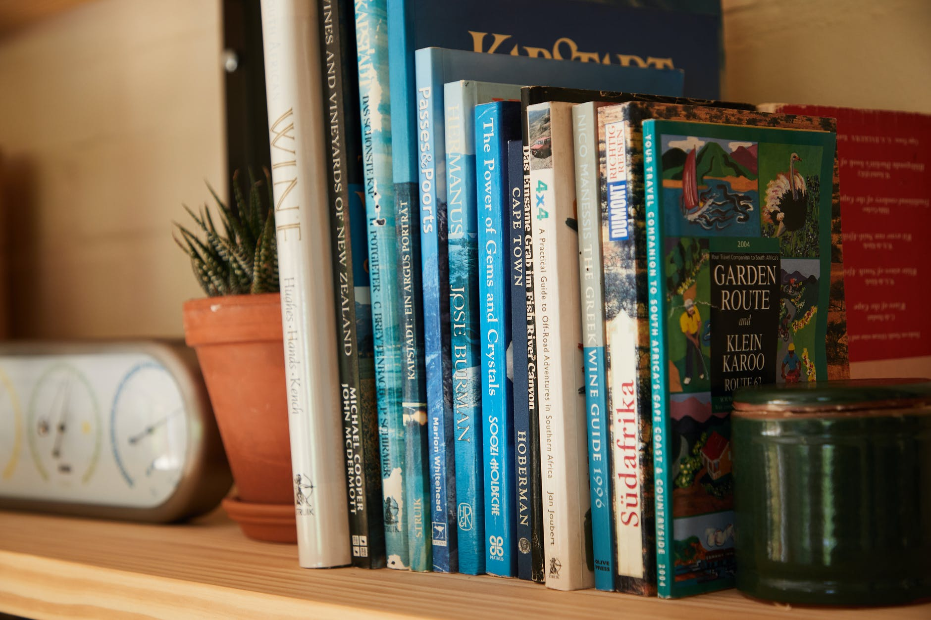 books placed on shelf with potted plants